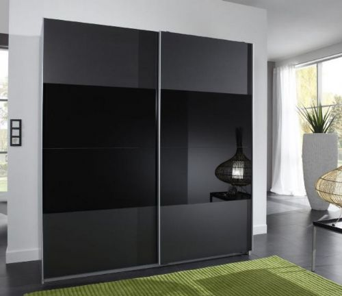 Munich 2 Door Sliding Wardrobe Charcoal Black and Black Glass